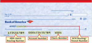 bank of america routing number on checks