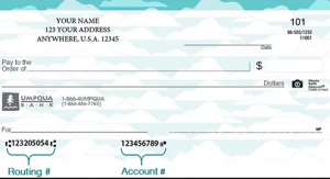UMPQUA Bank Routing Numbers on checks
