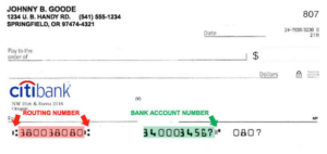 citibank routing number on check
