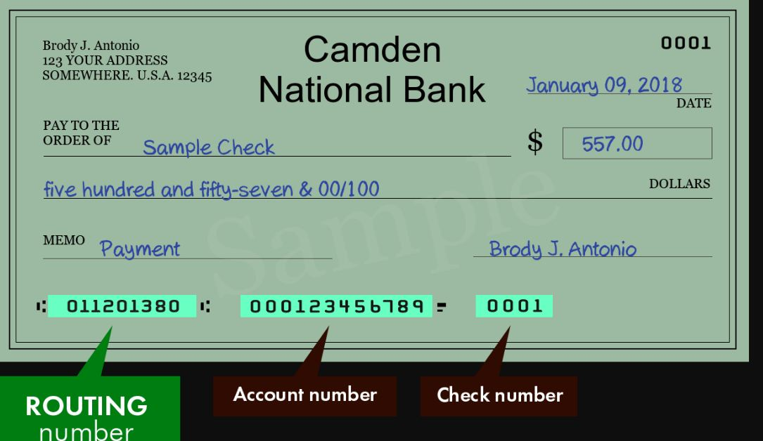 cadmen bank routing number